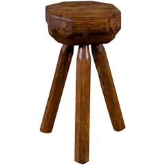 Small Hand-Carved Oak Stool from Belgium, circa 1940