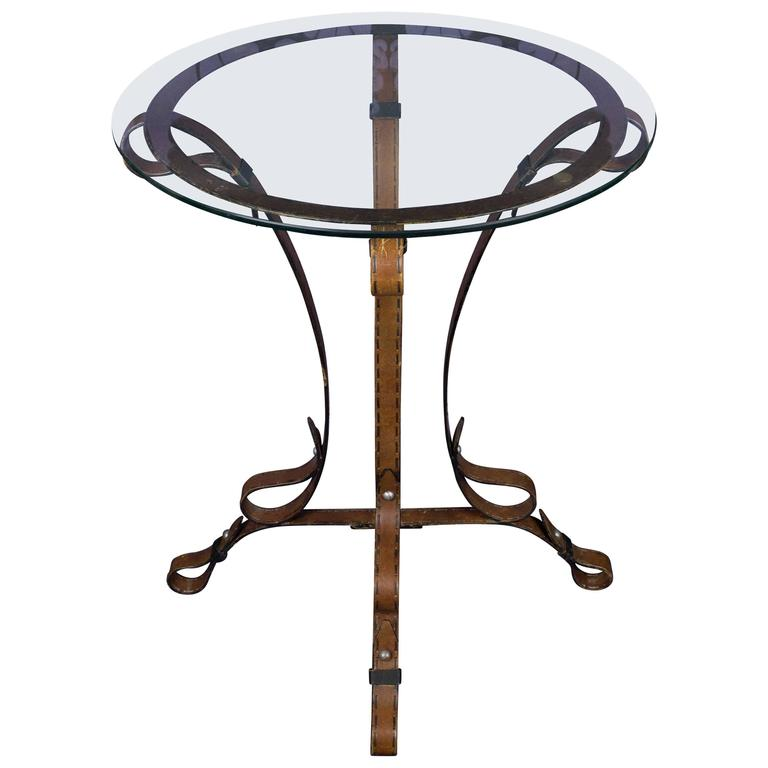unique french leather wrought iron table with glass top for sale at 1stdibs. Black Bedroom Furniture Sets. Home Design Ideas