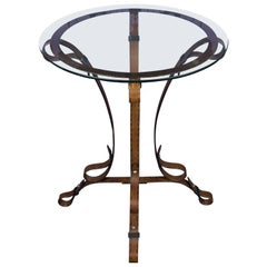 "Unique French ""Leather"" Wrought Iron Table with Glass Top"