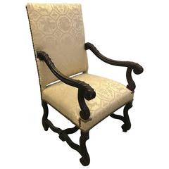 English Carved Walnut Throne Lolling Chair with Brass Nailhead Trim