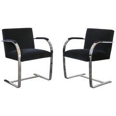 Pair of Flat Bar Brno Chairs in Black Velvet