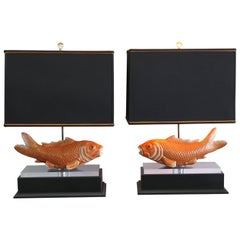 Pair of Studio Koi Fish Lamps