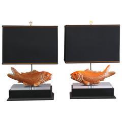 Pair of Studio Koi Fish Lamps