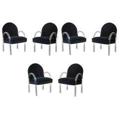 Set of Six Pace Lucite Arm/Dining Chairs in Black Velvet