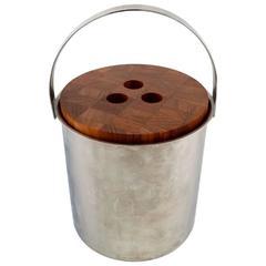 Arne Jacobsen for Stelton Ice Bucket Stainless Steel, Lid in Teak