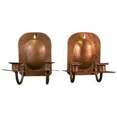 Swedish arts and crafts hand hammered copper hanging for Arts and crafts candle sconces