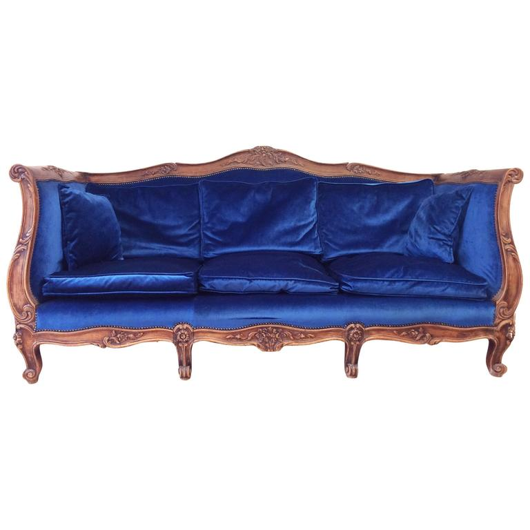 French Louis Xv Canap Sofa With Carved Walnut Frame At