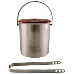Arne Jacobsen for Stelton Ice Bucket with Tongs in Stainless Steel