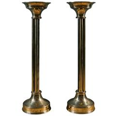 Pair of Tall Mid-Century Brass Candle Pillars from Holland, circa 1950
