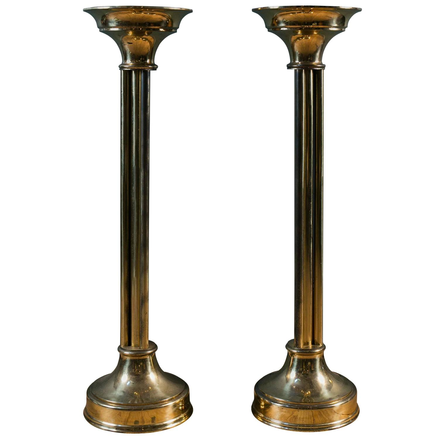Eva zeisel furniture tables collectibles more 6 for sale at pair of tall mid century modern brass pedestals from holland circa 1950 geotapseo Image collections