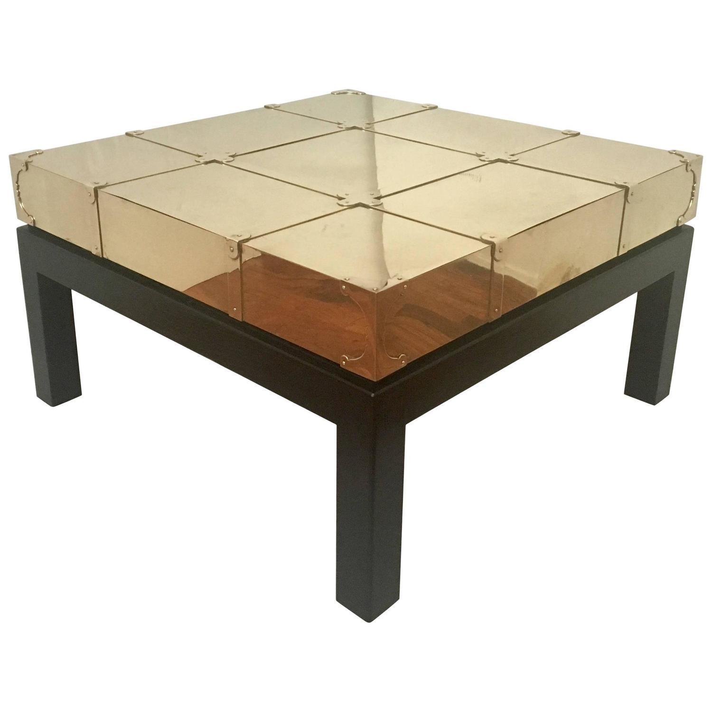 Square Coffee Table in Brass and Black Lacquer Oak by Sarreid Ltd
