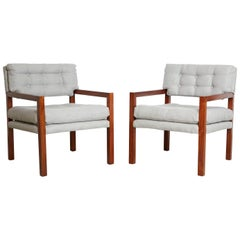 Pair of Mid-Century Modern Walnut Framed Armchairs, Restored, circa 1960