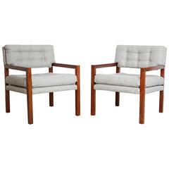 Pair of Mid-Century Modern Walnut Framed Armchairs, Restored, circa 1960