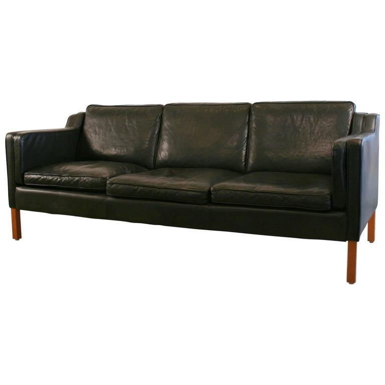vintage danish three seat black leather sofa at 1stdibs