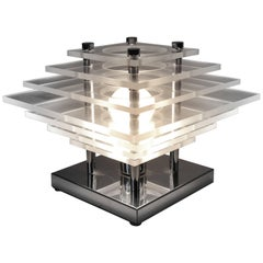 Stacked Plexiglass & Chrome Table Lamp, 1970, USA