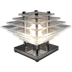 Stacked Plexiglass & Chrome Table Lamp, 1970, USA