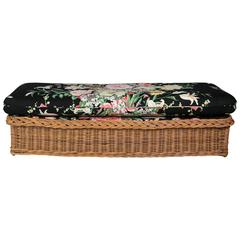 Wicker Bench with Floral Cushion, Italian Mid-Century