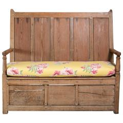 Pine Bench with Floral Cushion, 19th Century English