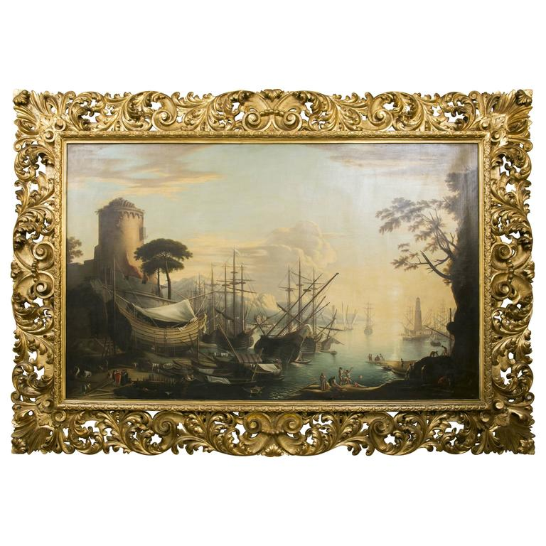 """Very Large 19th Century Painting """"Sailboats Docking in the Harbour"""""""