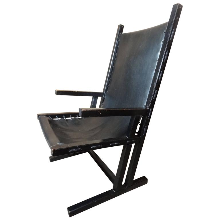 Vintage Original Dutch 'Rietveld' Style Black Leather Lounge Chair