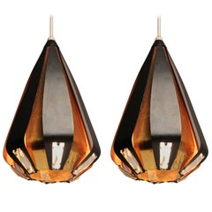 4 Werner Shou Brass and Enameled Steel  Pendant, 1960s , Denmark