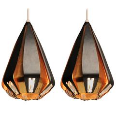 4 Werner Shou Brass and Enameled Steel  Pendant, 1960s , Denmark