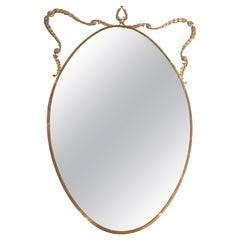 Italian Mirror in Brass with Decoration, circa 1960