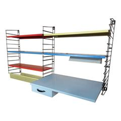 1960s Retro Vintage String or Dutch Metal Tomado Desk and Light Wall Shelving