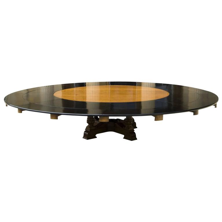 Massive Thirteen Foot Wide Round Oak Antique Dining Table to Seat Twenty People