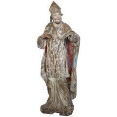 Large Hand-Carved Statue of Catholic Cardinal