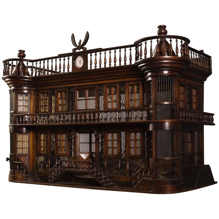 Rare Bird Cage in the Shape of a Miniature Castle, Late 19th Century For Sale