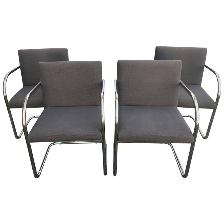 1980s Furniture 1980s mies van der rohe chrome tubular brno chairs, set of four at
