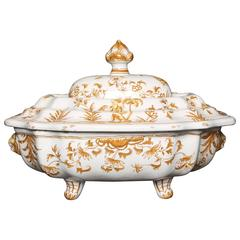 French Baroque Faience Tureen, Made by Moustiers