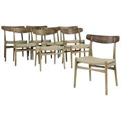 Set of Eight Original Vintage Hans Wegner CH23 Dining Chairs