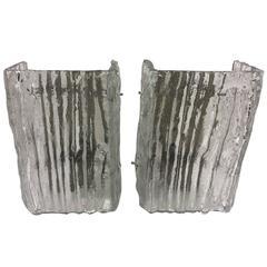 Pair of Kalmar Ice Glass Wall Sconces
