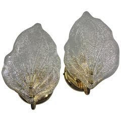 Pair of Leaf Murano Glass Wall Sconces