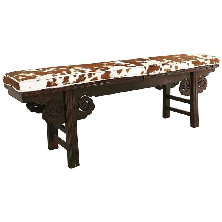 Vintage Chinese Bench With Double Sided Carving And Custom Cowhide Cushion For Sale At