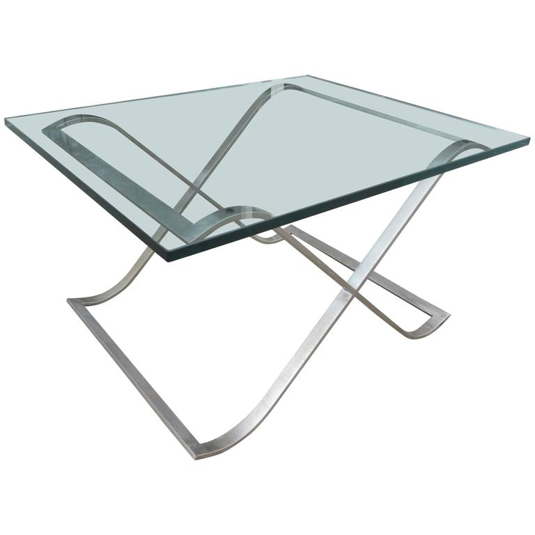 Barcelona Style X-Base Coffee Table in Stainless Steel and Glass For Sale