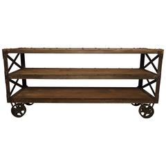 Large Vintage Industrial Three-Tier Cart