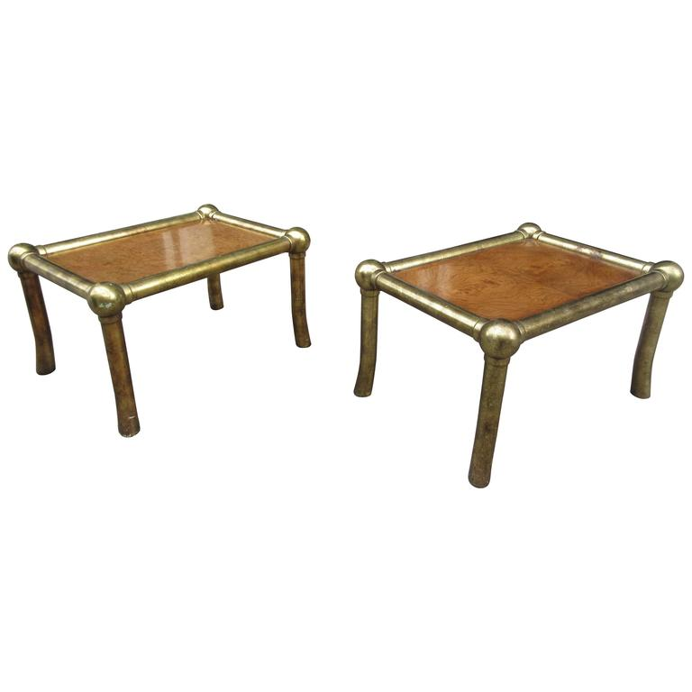 Pair of Drexel End Tables in Pecan and Distressed Gold Leaf 1