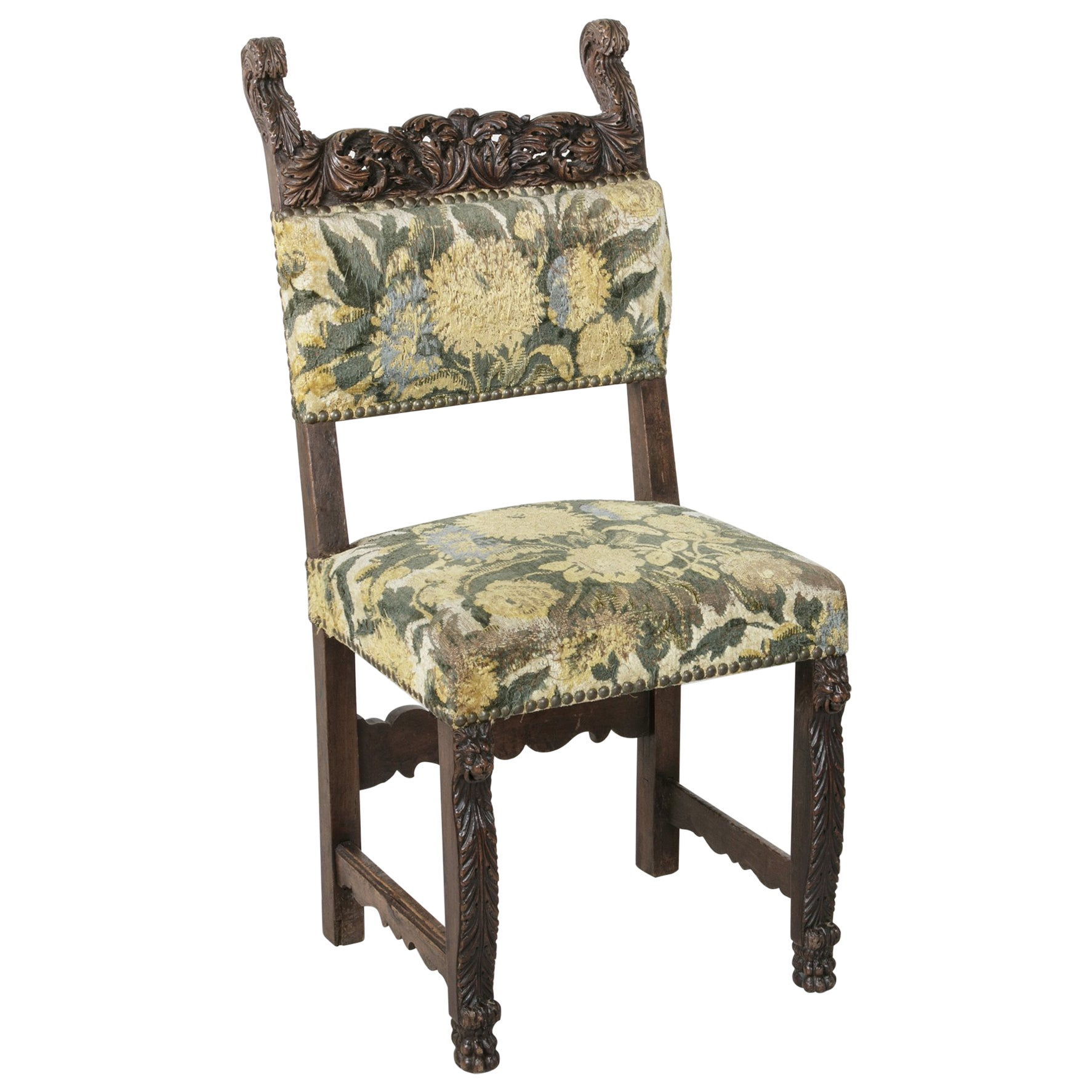 19th Century Sculptural Hand-Carved Walnut Louis XIII Style Side Chair