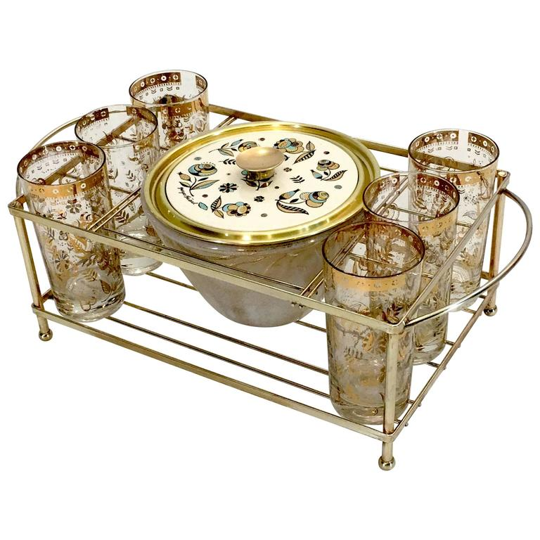 Barware Server Set by Georges Briard in Gold and Brass