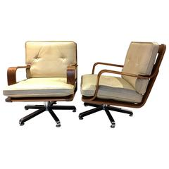 Pair of Cream-Colored Leather Swivel Armchairs with Wooden Frame
