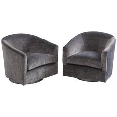 Milo Baughman, Pair of Grey Velvet Swivel Chair, USA, 1970s