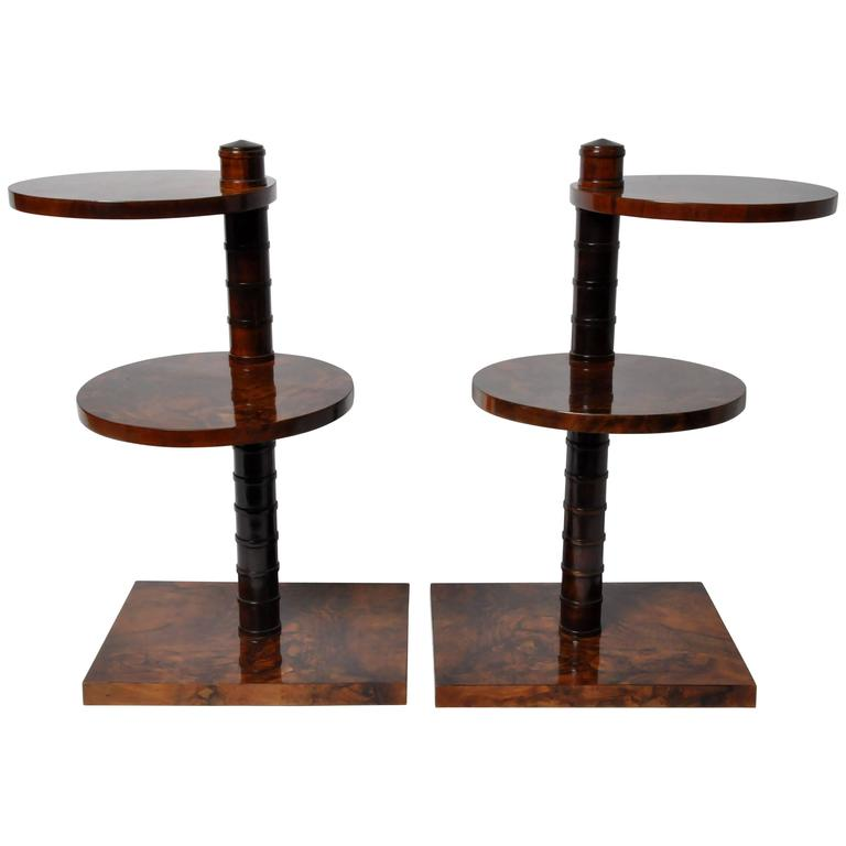 Pair of Art Deco Side Tables with Rotatable Shelves