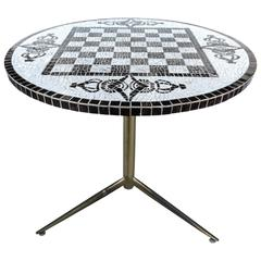 Mid-Century Checkerboard Tile-Top Table