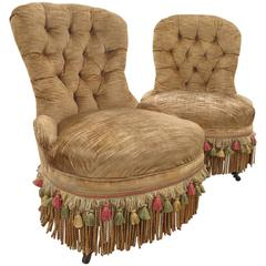 Pair of 19th Century Tufted Slipper Chairs