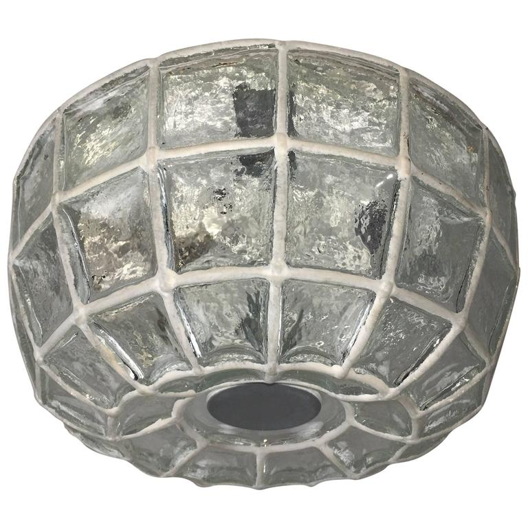 Limburg Honeycomb Iron and Clear Glass Flush Mount