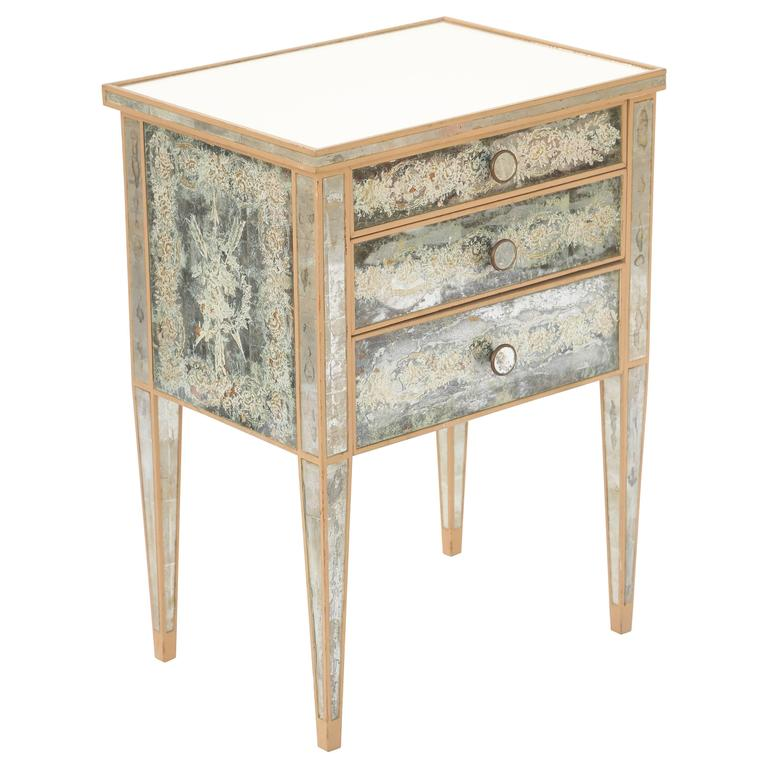 Eglomise Mirrored Nightstand Commode For Bedside Table