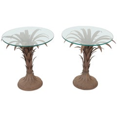 Pair of Iron Palm Accent Tables